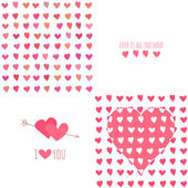 Set of Valentines day seamless patterns with hearts — 图库矢量图片