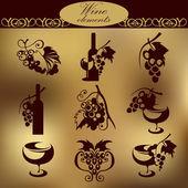 Wine elements. — Stock Vector