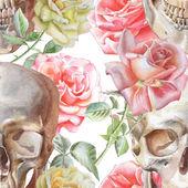 Padrão sem emenda com aquarela caveira e rosas — Vetor de Stock