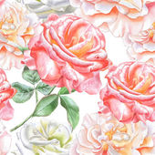 Seamless pattern with watercolor roses. — Stock Vector