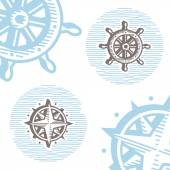 Vintage marine symbols vector icon set: engraving wheel and wind — Stock Vector