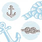 Vintage marine symbols vector icon set: engraving anchor and kno — Stok Vektör
