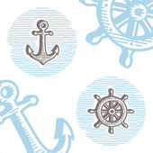 Vintage marine symbols vector icon set: engraving anchor and whe — Stock Vector