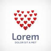 Heart symbol logo icon design template — Stock Vector