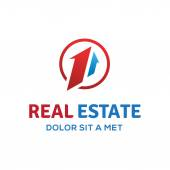 Number one 1 real estate sign logo icon design template with hou — Vettoriale Stock