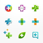 Vector set of medical logo icons with cross and plus — Stock Vector