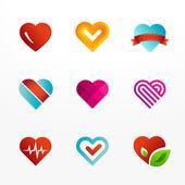 Heart symbol logo icon set — Stock Vector