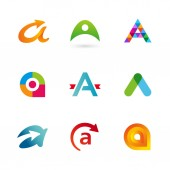 Set of letter A logo icons design template elements — Stock Vector