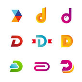 Set of letter D logo icons design template elements — Stock Vector