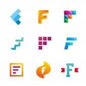 Set of letter F logo icons design template elements — Stock Vector