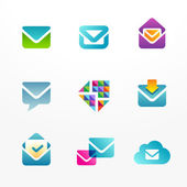 E-mail logo icon set based on envelope symbol — Stock Vector
