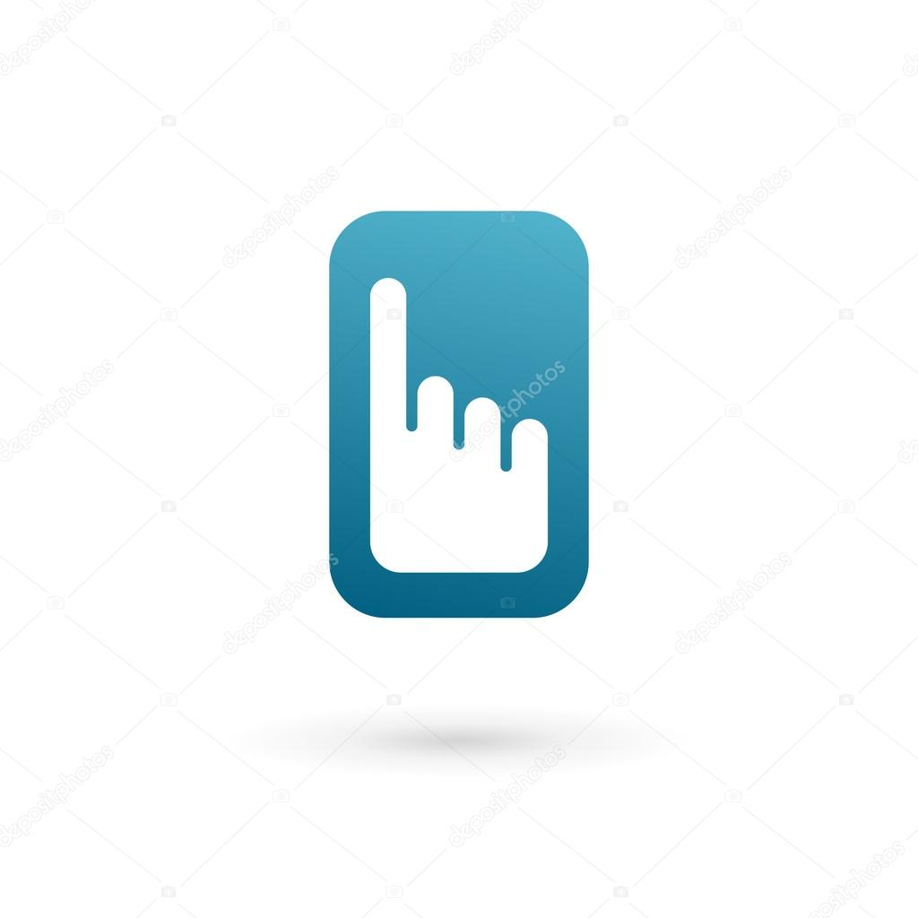 Mobile phone hand touch screen app logo icon design ...