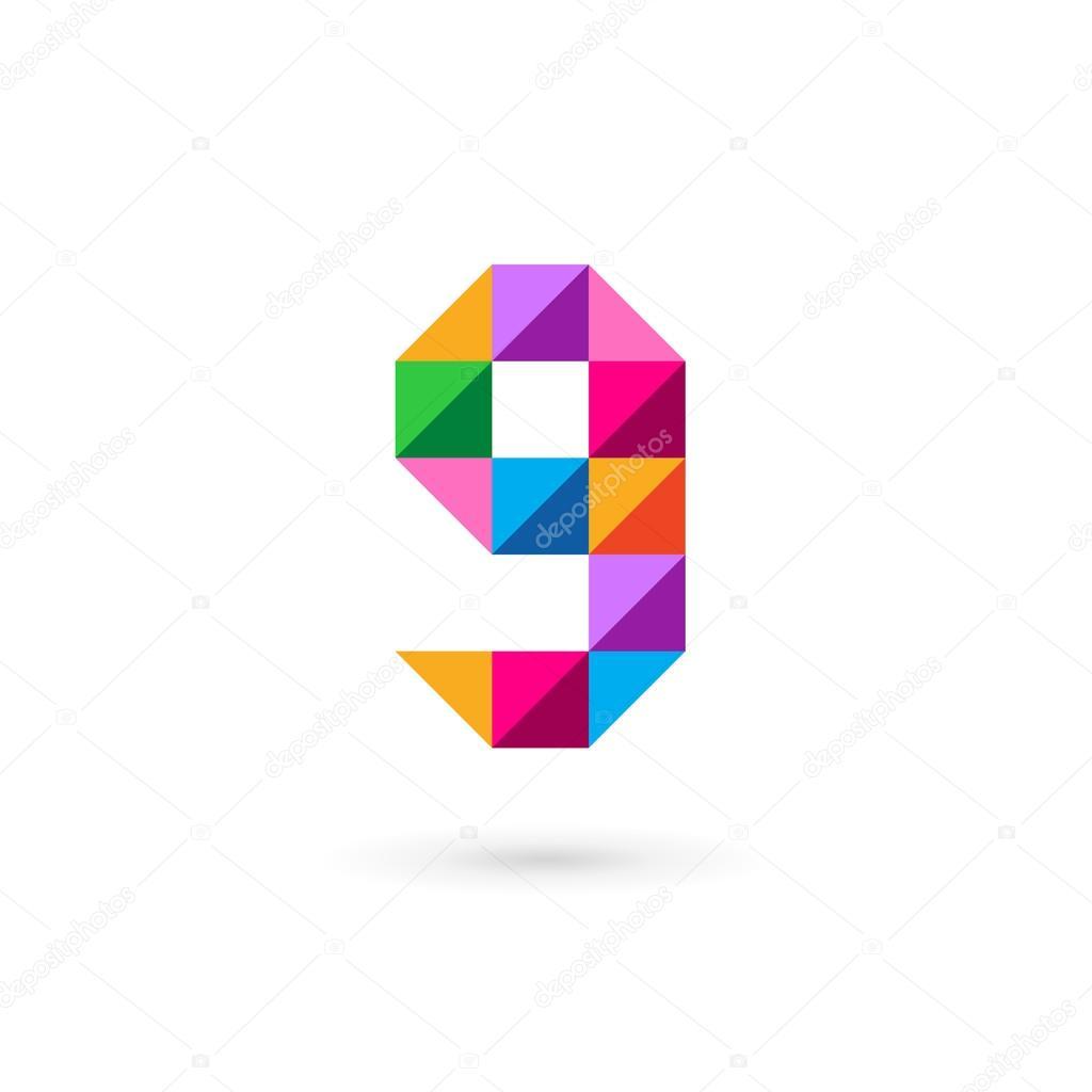 字母g 9 號馬賽克標志圖標設計模板元素