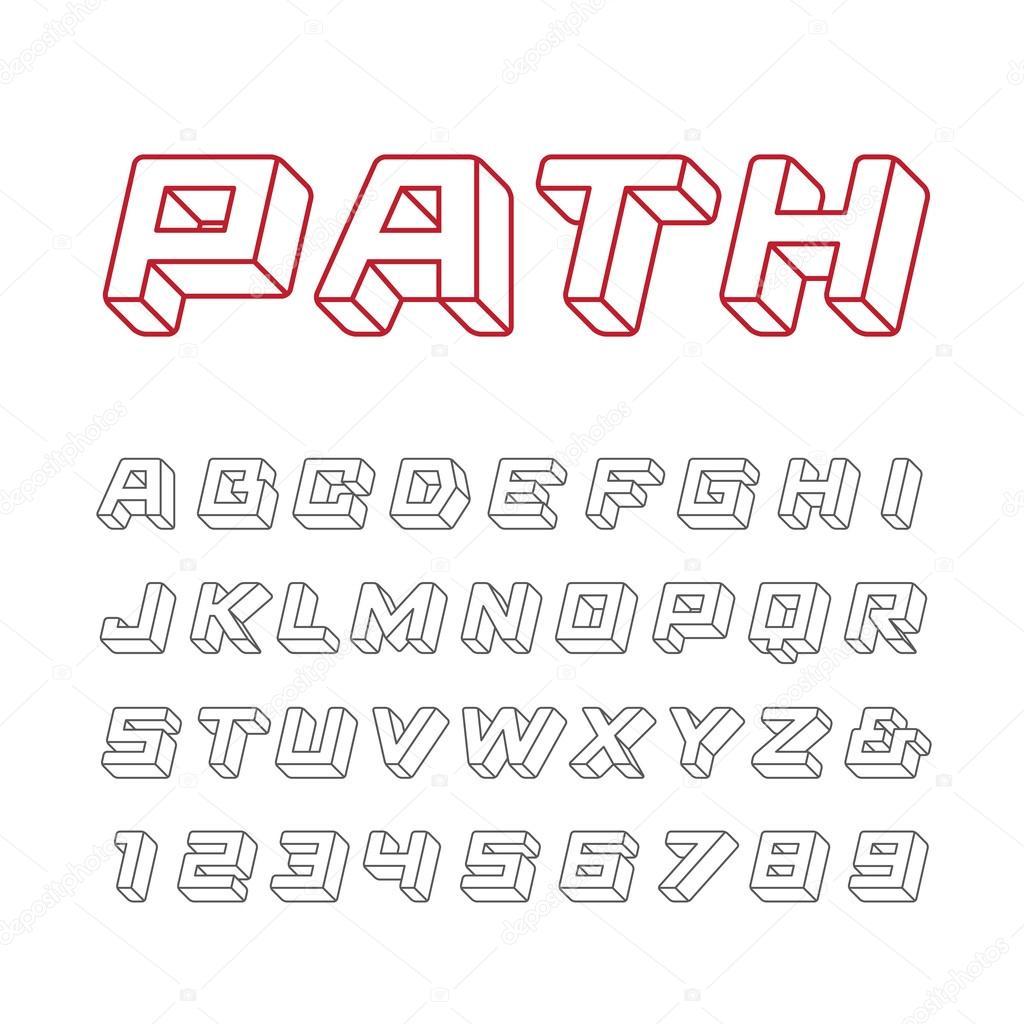 lineare schrift vektor alphabet mit 3d effekt buchstaben. Black Bedroom Furniture Sets. Home Design Ideas