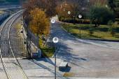 Road with street lamps in the park, Madrid, Spain — Stock Photo