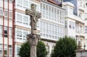 Typical Galician stone cross in a square in Ferrol — Stock Photo