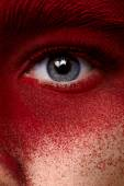 Beauty eye with red paint makeup — Stock Photo