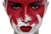 Girl with red lips and blood on face — Foto de Stock