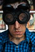 Portrait of tattoo master in welder glasses — Stok fotoğraf