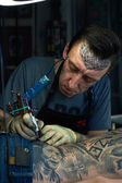 Portrait of tattoo master — Stock Photo