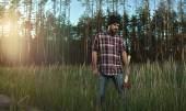 Bearded Lumberjack in Hat looking down — Stock Photo