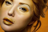 Closeup Portrait of beauty Blonde with gold Makeup — Stock Photo