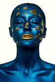 Beauty fashion Halloween Girl with closed Eyes, and blue Skin — Stock Photo