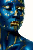 Closeup beauty female fashion Model with blue and gold Skin — Stock Photo
