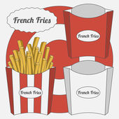 Vector Set of French Fries Boxes — Stock Vector