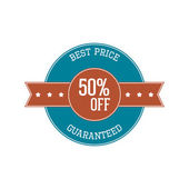 Vintage Label - best Price, fifty Percent off — Stock Vector