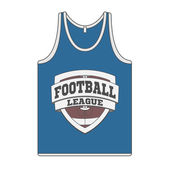 Sleeveless blue Shirt with Football Label — Stock Photo