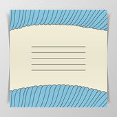 Striped blue wave Cover for Notebook — Stock Vector