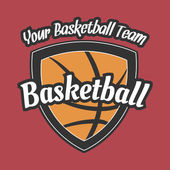 Basketball Team Label with Ball — Stock Vector