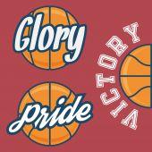 Set of Three Basketball Team Logo with Ball — Stock Vector