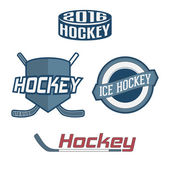 Set of colorful Hockey Team Labels — Stock Vector