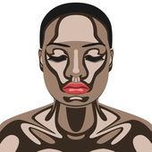 彼女の顔にチョコレートと美容女性 — ストックベクタ