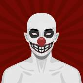 Bald scary Clown with smiling Face — Stock Photo