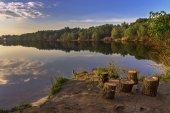 Sabah nehri üzerinde — Stok fotoğraf