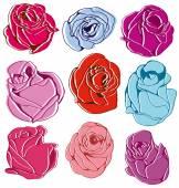 Rose set — Stock Vector