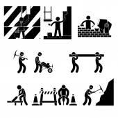 Pictogram menselijke arbeid. banen pictogrammen over witte achtergrond vectorillustratie — Stockvector