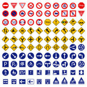 100 different highly detailed and fully editable vector Traffic-Road Sign Collection. Japan Traffic-Road Sign Collection. — Stock Vector