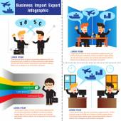 Business Import & Export Infographic. vector illustration — Stock Vector