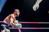 Fight for the championship belt of Europe kick-boxing — Stock Photo