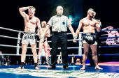 Fight for the championship belt of Europe kick-boxing — Foto Stock