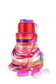 Colorful stack of haberdashery ribbons — Stock Photo