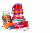 Colorful ribbons, sewing, craft and haberdashery items — Stock Photo