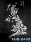 Blackboard or Chalkboard with U.K.Map with Counties. — Stock Photo