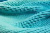 Knitted graduated turquoise shades of wool wave effect backgroun — Stock Photo