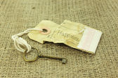 The key to happiness concept on rustic background — Stock Photo