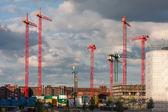 Construction cranes on a construction site in Hamburg — Foto Stock